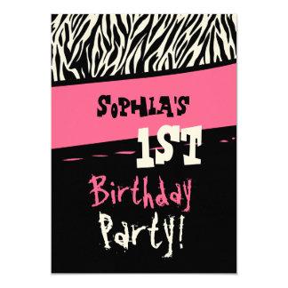 1st Birthday - Pink Black White Zebra Template 5x7 Paper Invitation Card