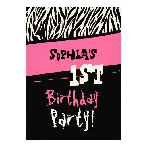 1st Birthday - Pink Black White Zebra Template Invite