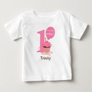 1st Birthday Pink Cupcake Baby T-Shirt