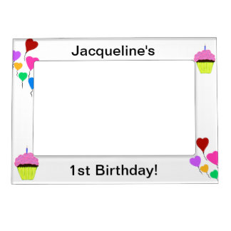 1st Birthday Pink Cupcakes & Colorful Balloons Magnetic Photo Frame