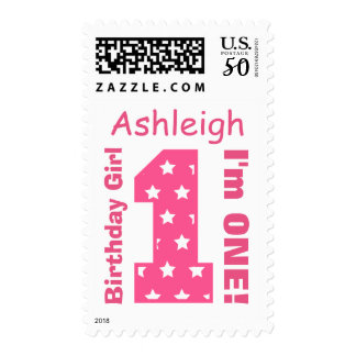 1st Birthday Pink Number with Stars Custom Name 3 Postage