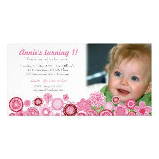 1st Birthday Pink Party Invitation Photo Card