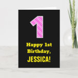 """[ Thumbnail: 1st Birthday: Pink Stripes and Hearts """"1"""" + Name Card ]"""