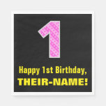 "[ Thumbnail: 1st Birthday: Pink Stripes and Hearts ""1"" + Name Napkins ]"