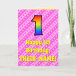 [ Thumbnail: 1st Birthday: Pink Stripes & Hearts, Rainbow # 1 Card ]