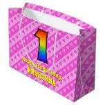 [ Thumbnail: 1st Birthday: Pink Stripes & Hearts, Rainbow # 1 Gift Bag ]