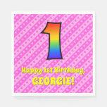 [ Thumbnail: 1st Birthday: Pink Stripes & Hearts, Rainbow # 1 Napkins ]