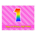 [ Thumbnail: 1st Birthday: Pink Stripes & Hearts, Rainbow 1 Postcard ]