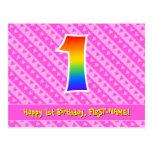 [ Thumbnail: 1st Birthday: Pink Stripes & Hearts, Rainbow 1 Postcard ]