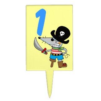1st birthday pirate boy cake picks
