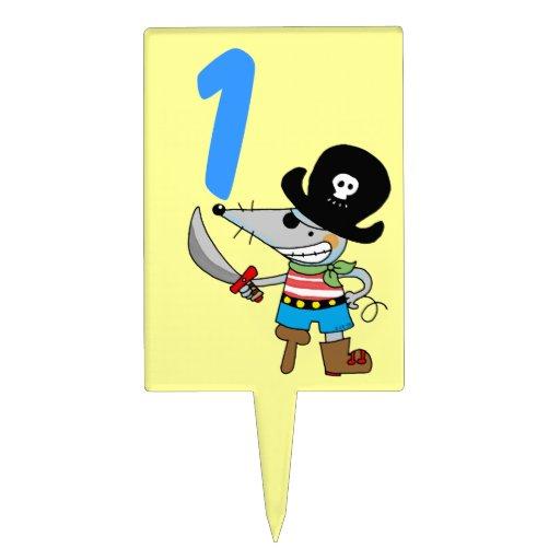 1st birthday pirate boy cake topper