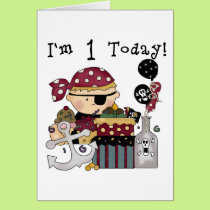 1st Birthday Pirate T-shirts and Gifts Card