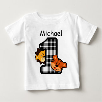 1st Birthday Plaid Tiger and Lion 1 Year Old A2 Baby T-Shirt