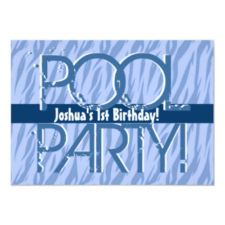 1st Birthday Pool Party Blue Zebra Waves Template 5x7 Paper Invitation Card