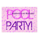 1st Birthday Pool Party Pink and Purple Bubbles Card