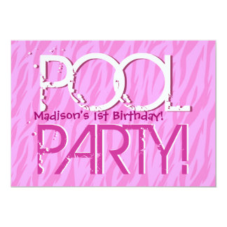 1st Birthday Pool Party Pink Zebra Waves Template 5x7 Paper Invitation Card