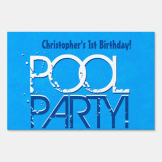1st Birthday Pool Party Save the Date One Year Z01 Lawn Sign