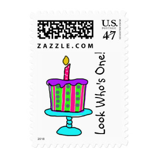 1st Birthday Postage Stamp Template