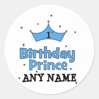 1st Birthday Prince Classic Round Sticker