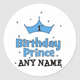 1st Birthday Prince Round Sticker