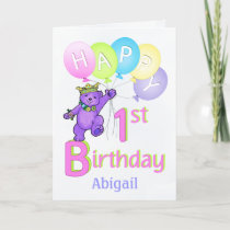 1st Birthday Princess Bear, Custom Name Card