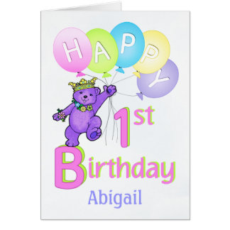 1st Birthday Princess Bear, Custom Name Greeting Card