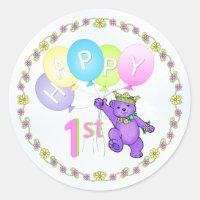 1st Birthday Princess Bear Happy Classic Round Sticker