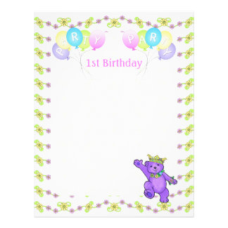 "1st Birthday Princess Bear Party Scrapbook Paper 1 8.5"" X 11"" Flyer"