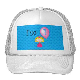 1st Birthday princess blue hearts Trucker Hat