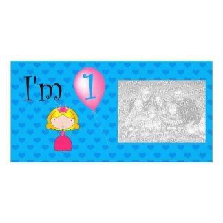 1st Birthday princess blue hearts Photo Cards