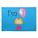 1st Birthday princess blue hearts Placemat