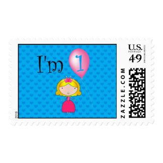1st Birthday princess blue hearts Stamp
