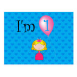 1st Birthday princess blue hearts Postcards