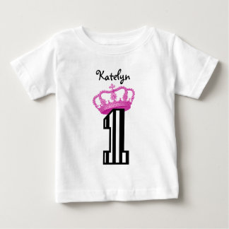 1st Birthday Princess Crown Stripes One Year Old 1 Baby T-Shirt