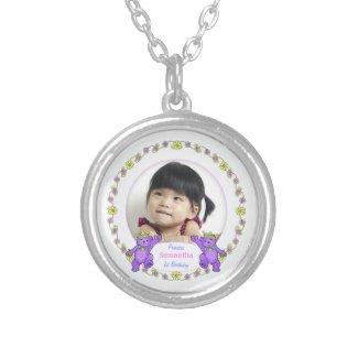 1st Birthday Princess, Custom Photo Silver Plated Necklace