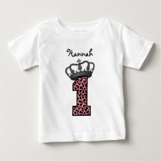 1st Birthday Princess Pink Leopard Silver Crown Baby T-Shirt