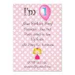 "1st Birthday princess pink polka dots 5"" X 7"" Invitation Card"