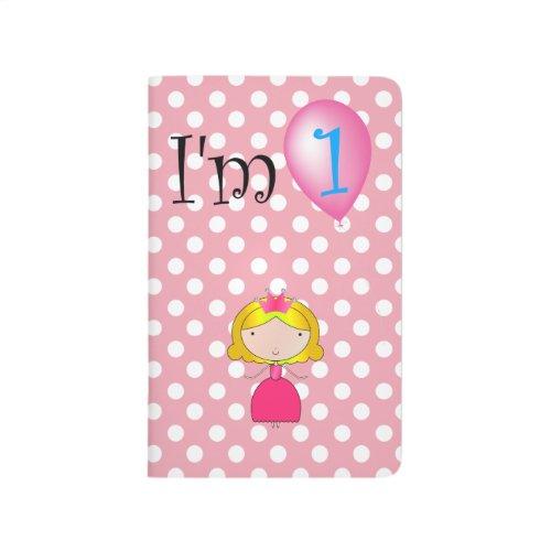 1st Birthday princess pink polka dots Journals