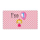 1st Birthday princess pink polka dots Personalized Shipping Labels