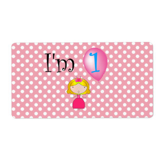 1st Birthday princess pink polka dots Label