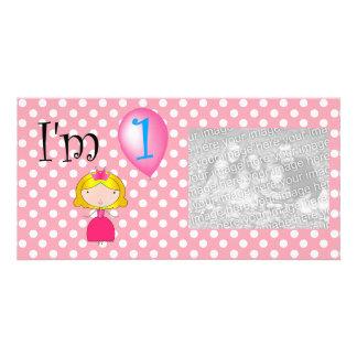 1st Birthday princess pink polka dots Photo Card Template
