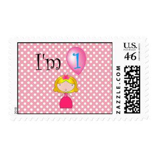 1st Birthday princess pink polka dots Stamps