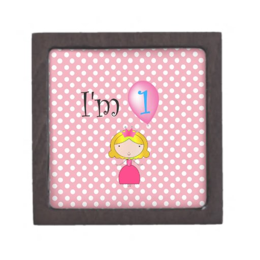 1st Birthday princess pink polka dots Premium Jewelry Box