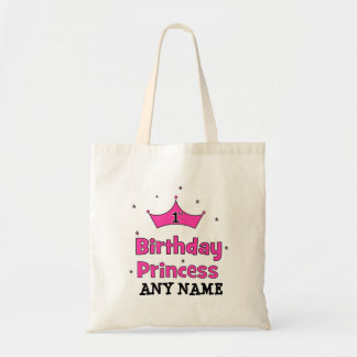1st Birthday Princess!  with pink crown Tote Bags