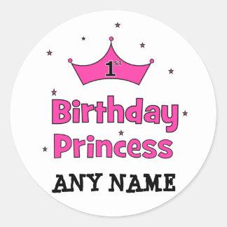 1st Birthday Princess!  with pink crown Classic Round Sticker