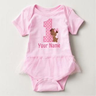 1st Birthday Puppy Pink Personalized Baby Bodysuit