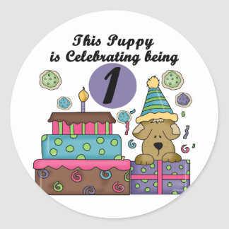 1st Birthday Puppy T-shirts and gifts Classic Round Sticker