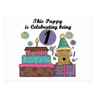 1st Birthday Puppy T Shirts And Gifts Postcard