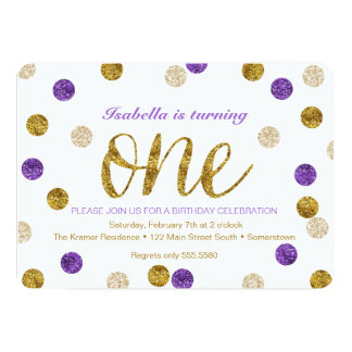 1st Birthday-Purple and Gold Glitter Card