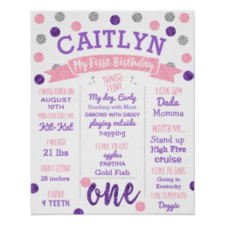 1st Birthday, Purple and Pink Glitter Poster